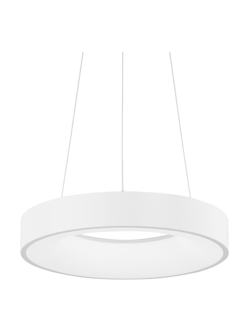 Dimmbare LED-Pendelleuchte Rando in Weiß, Lampenschirm: Aluminium, beschichtet, Baldachin: Aluminium, beschichtet, Weiß, Ø 60 x H 6 cm