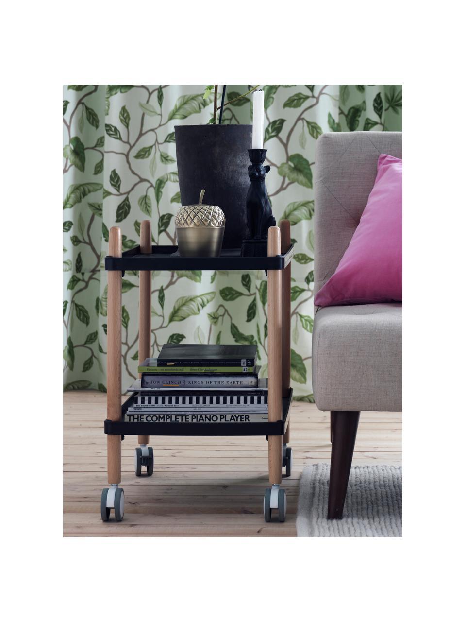 Wózek barowy scandi Åsa, Stelaż: drewno bukowe, Czarny, drewno bukowe, S 50 x W 60 cm