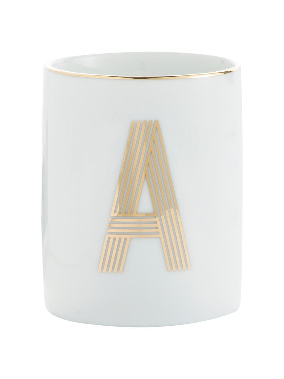 Tazza in porcellana Yours (varianti dalla A alla Z), Porcellana, Bianco, dorato, Tazza senza manico A