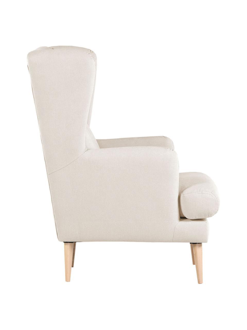 Fauteuil Robin in beige in scandi design, Bekleding: 90% polyester, 10% polyam, Poten: gelakt hout, Geweven stof beige, B 77 x D 85 cm
