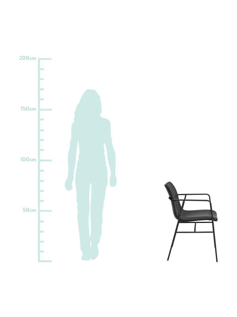 Kunstleder-Armlehnstühle Huntington in Schwarz, 2 Stück, Bezug: Kunstleder, Gestell: Schichtholz, Beine: Metall, beschichtet, Schwarz, B 54 x T 58 cm