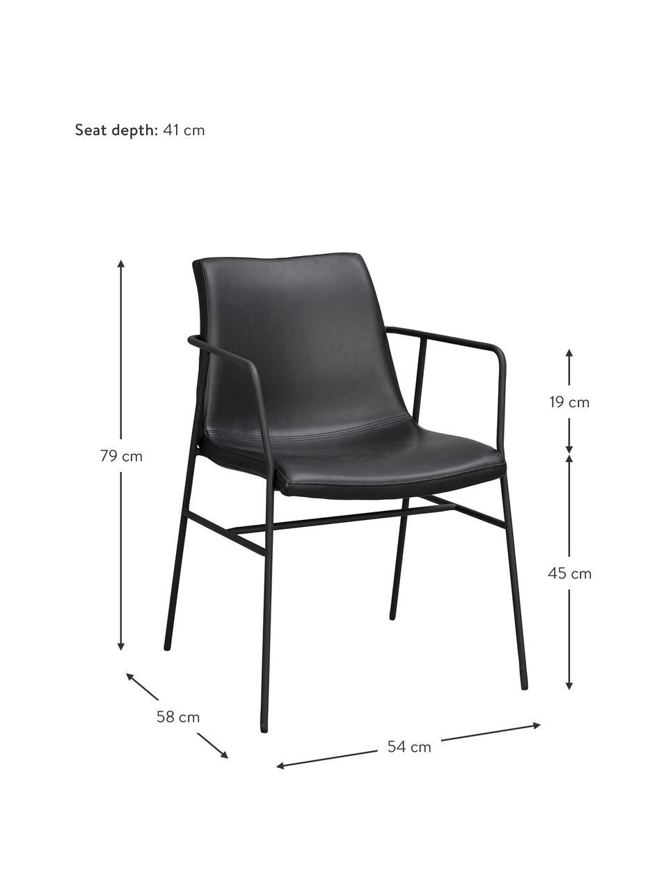 Kunstleder-Armlehnstühle Huntington in Schwarz, 2 Stück, Bezug: Kunstleder (Polyurethan) , Beine: Metall, beschichtet, Kunstleder Schwarz, B 54 x T 58 cm