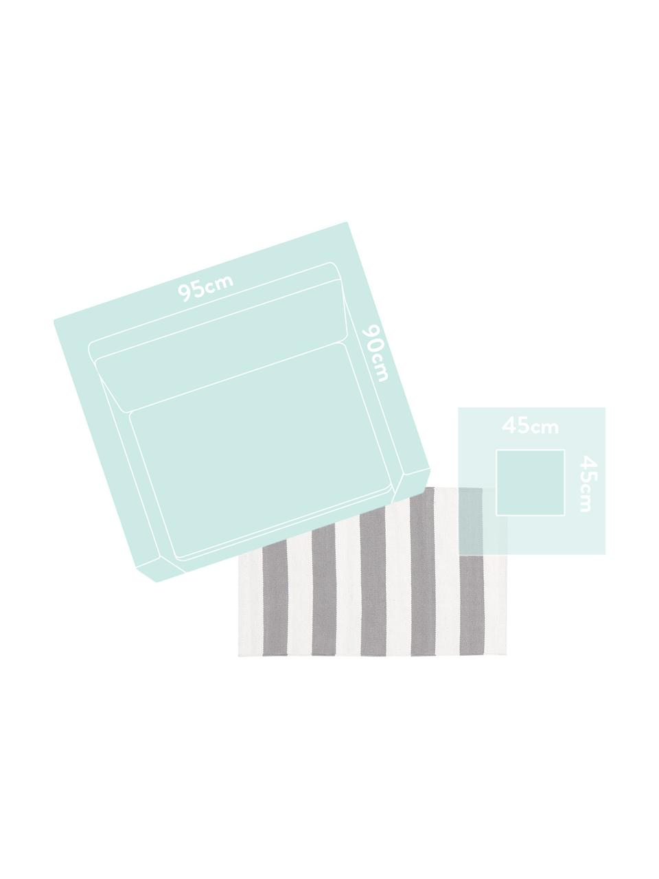 Gestreept katoenen vloerkleed Blocker in grijs/wit, handgeweven, 100% katoen, Crèmewit/lichtgrijs, B 200 x L 300 cm (maat L)