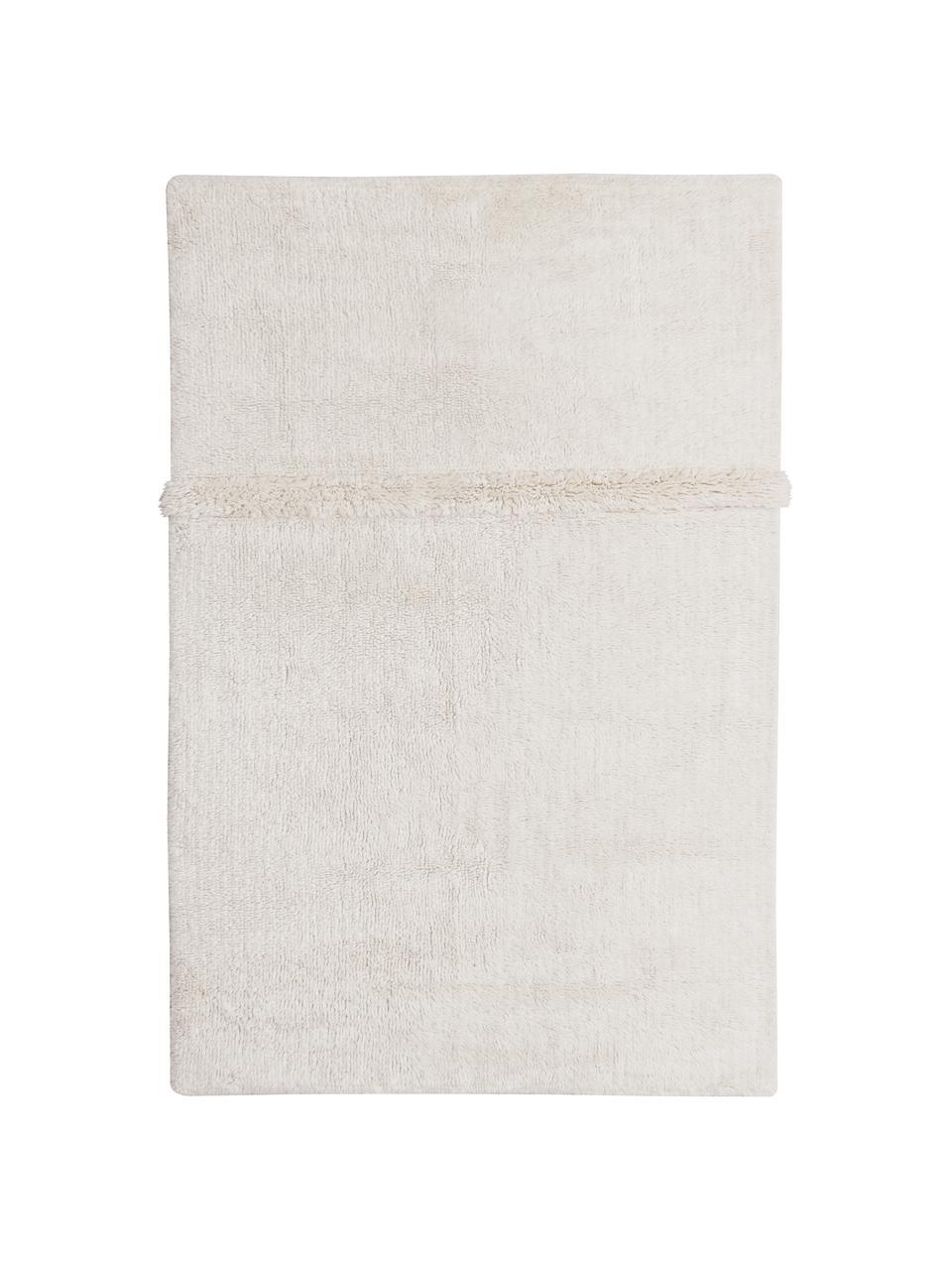Tapis en laine blanc fait main Tundra, lavable, Blanc