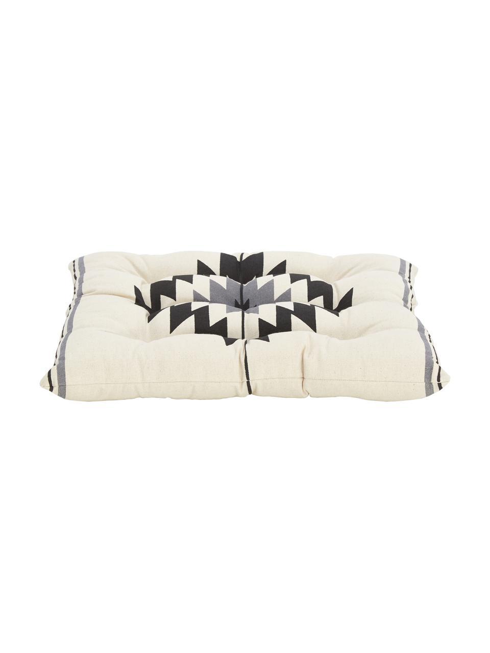 Ethno Sitzkissen Luca, Bezug: 100% Baumwolle, Schwarz,Grau,Weiß, 40 x 40 cm