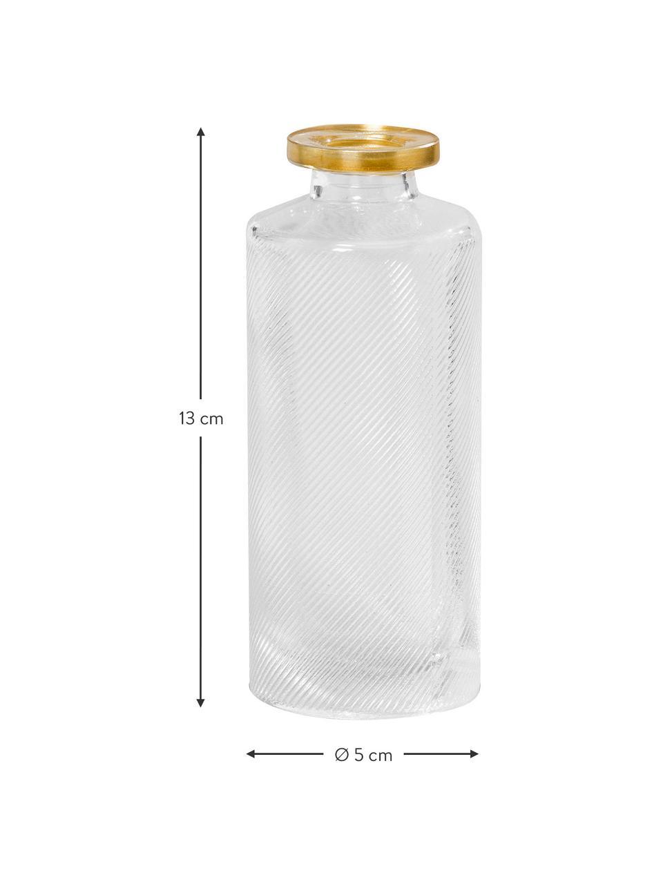 Kleines Vasen-Set Adore aus Glas, 3-tlg., Glas, lackiert, Transparent, Goldfarben, Ø 5 x H 13 cm