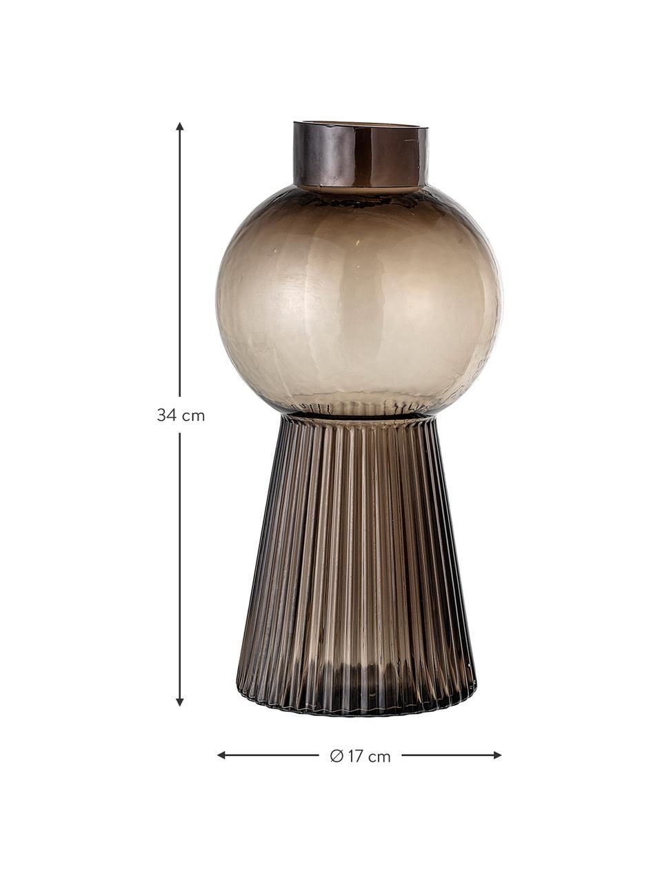 Große Glas-Vase Mola, Glas, Braun, transparent, Ø 17 x H 34 cm