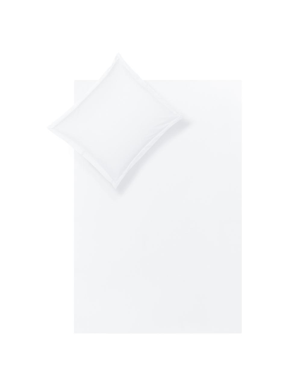 Katoensatijnen dekbedovertrek Premium in wit met bies, Weeftechniek: satijn, licht glanzend, Wit, 140 x 200 cm
