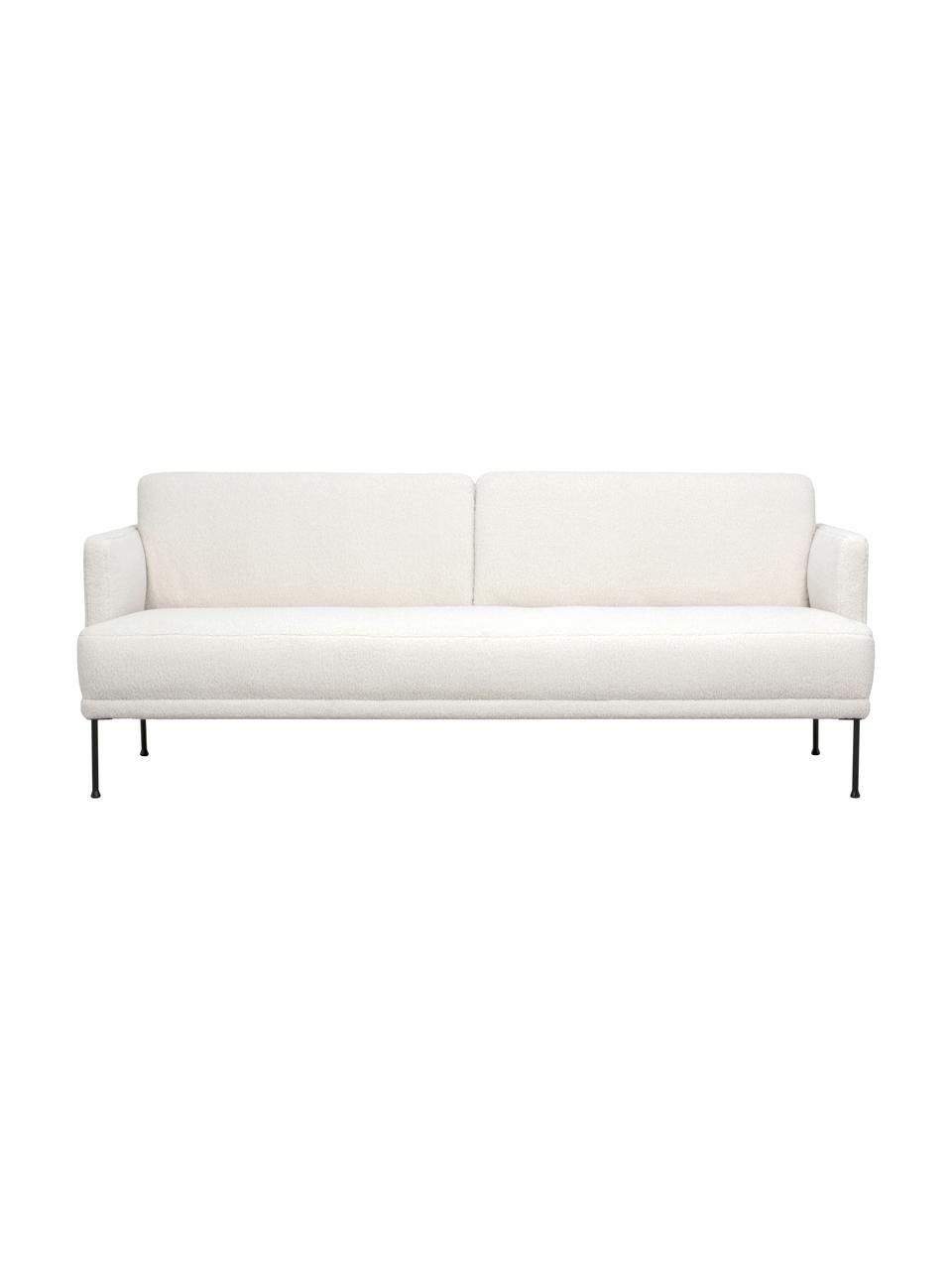 Sofa z  metalowymi nogami Teddy Fluente (3-osobowa), Tapicerka: 100% poliester (Teddy) Dz, Nogi: metal malowany proszkowo, Kremowobiały teddy, S 196 x G 85 cm
