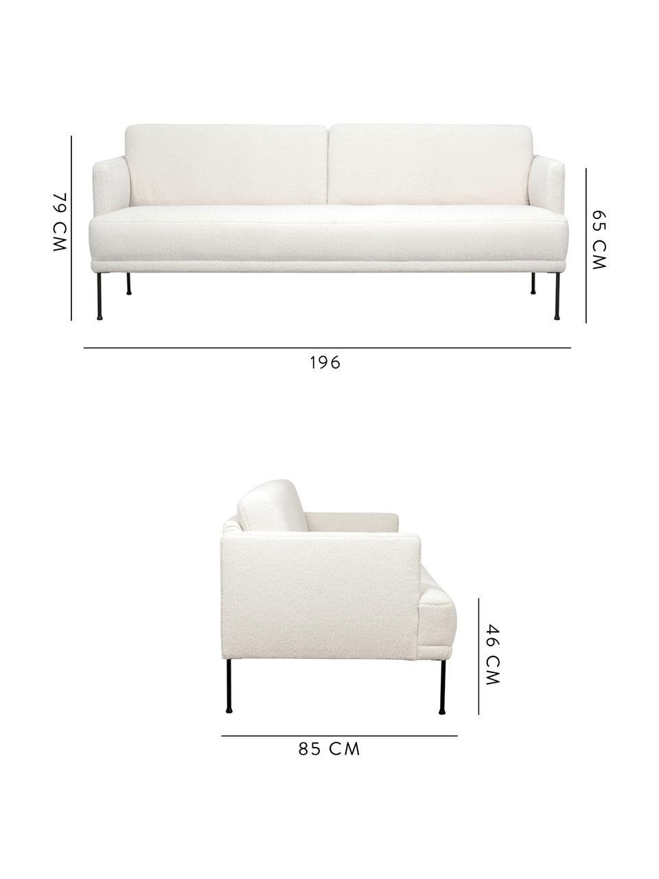 Teddy-Sofa Fluente (3-Sitzer) in Cremeweiß mit Metall-Füßen, Bezug: 100% Polyester (Teddyfell, Gestell: Massives Kiefernholz, Füße: Metall, pulverbeschichtet, Teddy Cremeweiß, B 196 x T 85 cm