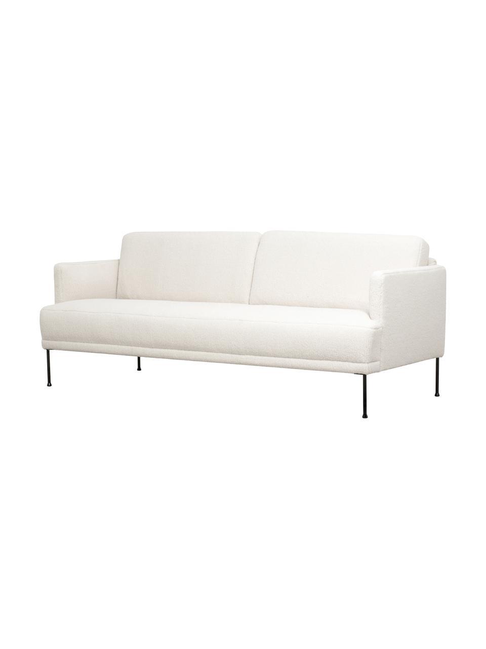 Canapé 3places peluche crème pieds en métal Fluente, Tissu blanc crème