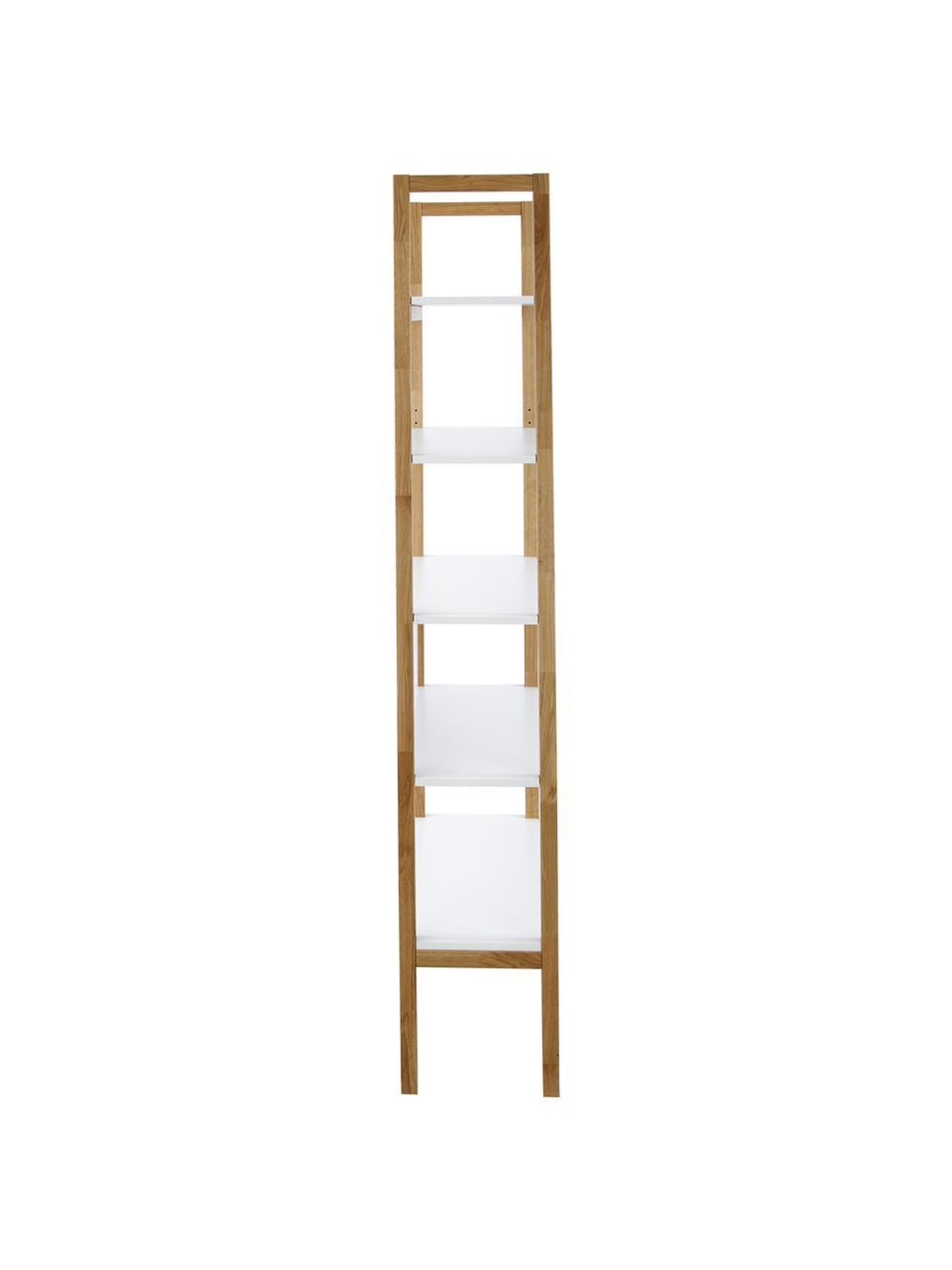 Standregal Farringdon mit Rahmen aus Eichenholz, Rahmen: Eichenholz, massiv, Weiß, Eichenholz, 90 x 185 cm