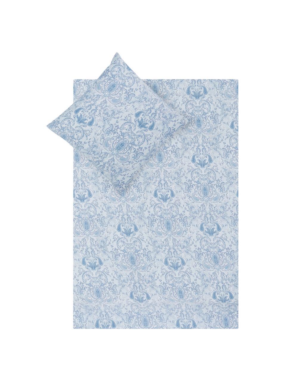 Pościel z satyny bawełnianej Grantham, Niebieski, 240 x 220 cm + 2 poduszki 80 x 80 cm