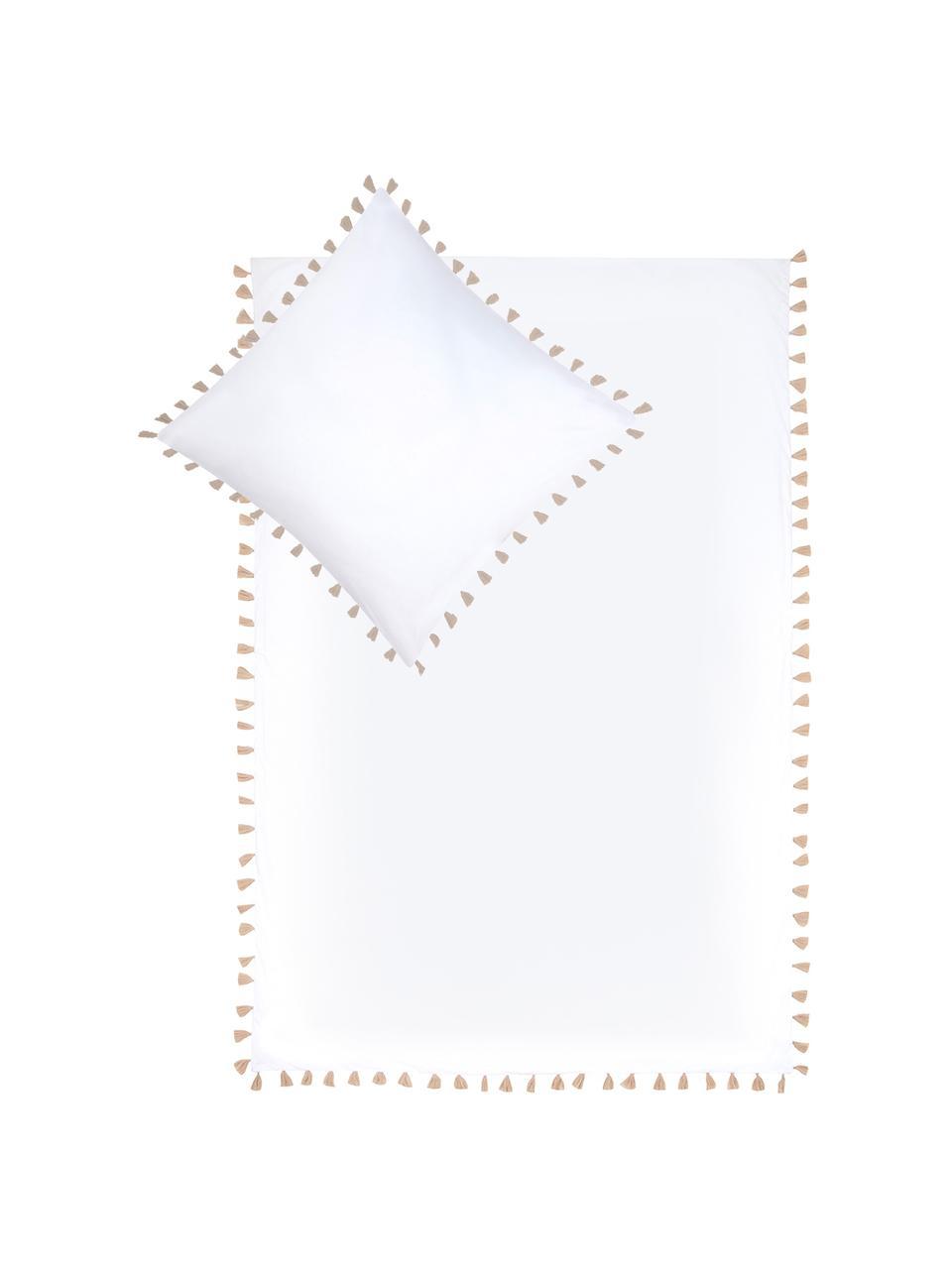 Baumwollperkal-Bettwäsche Quo mit Quasten, Webart: Perkal Fadendichte 200 TC, Weiß, Beige, 240 x 220 cm + 2 Kissen 80 x 80 cm