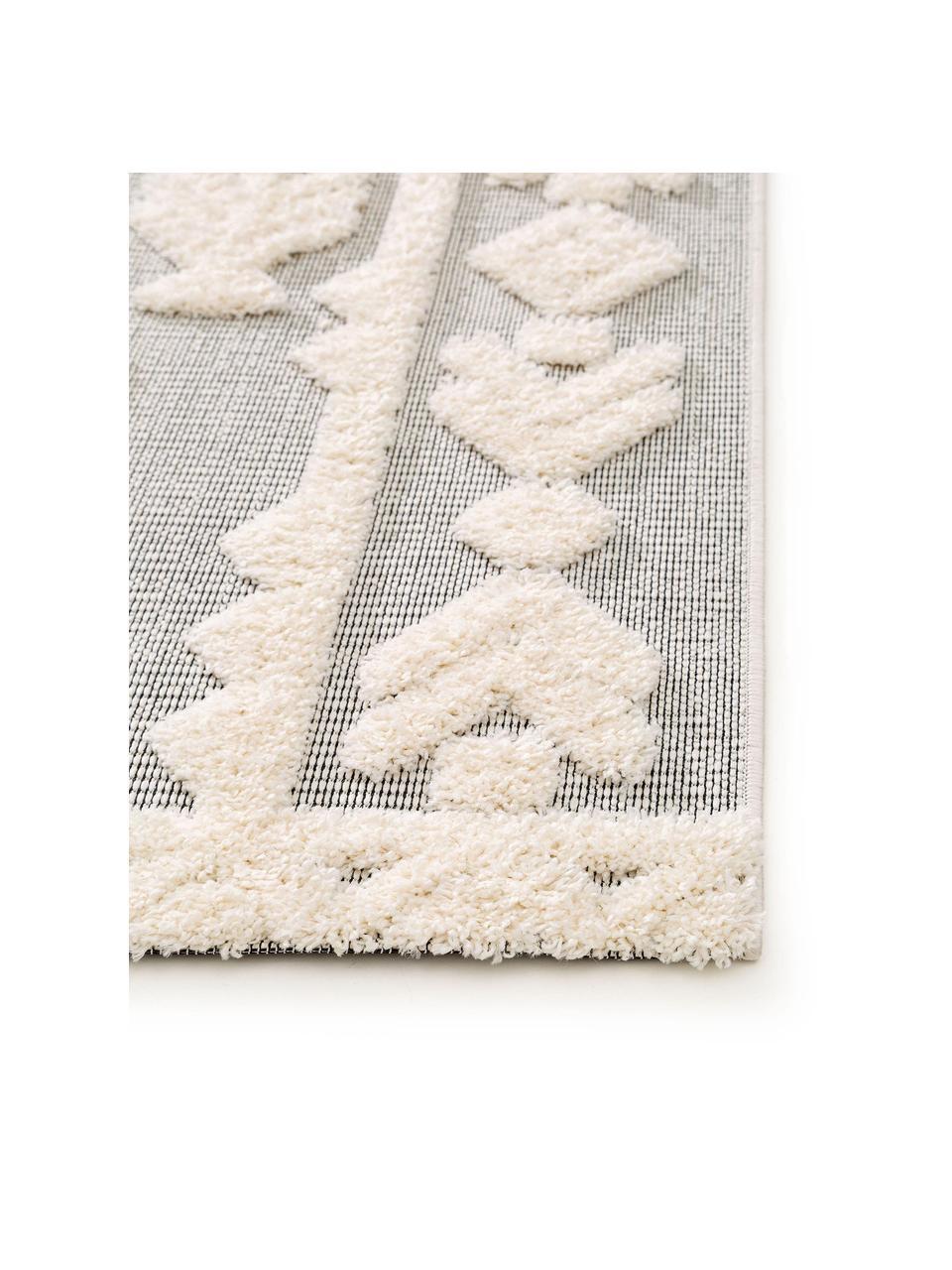 Tappeto etnico da interno-esterno con motivo a rilievo Carlo, 100% polietilene, Grigio, crema, Larg. 80 x Lung. 150 cm (taglia XS)