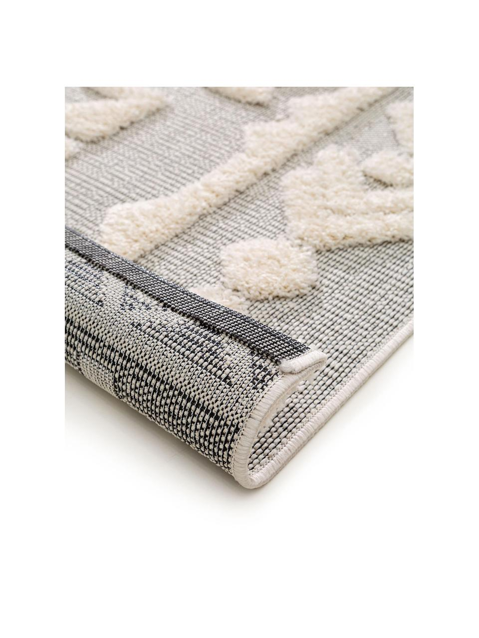 Ethno In- & Outdoor-Teppich Carlo mit Hoch-Tief-Struktur, 100% Polyethylen, Grau, Creme, B 80 x L 150 cm (Größe XS)