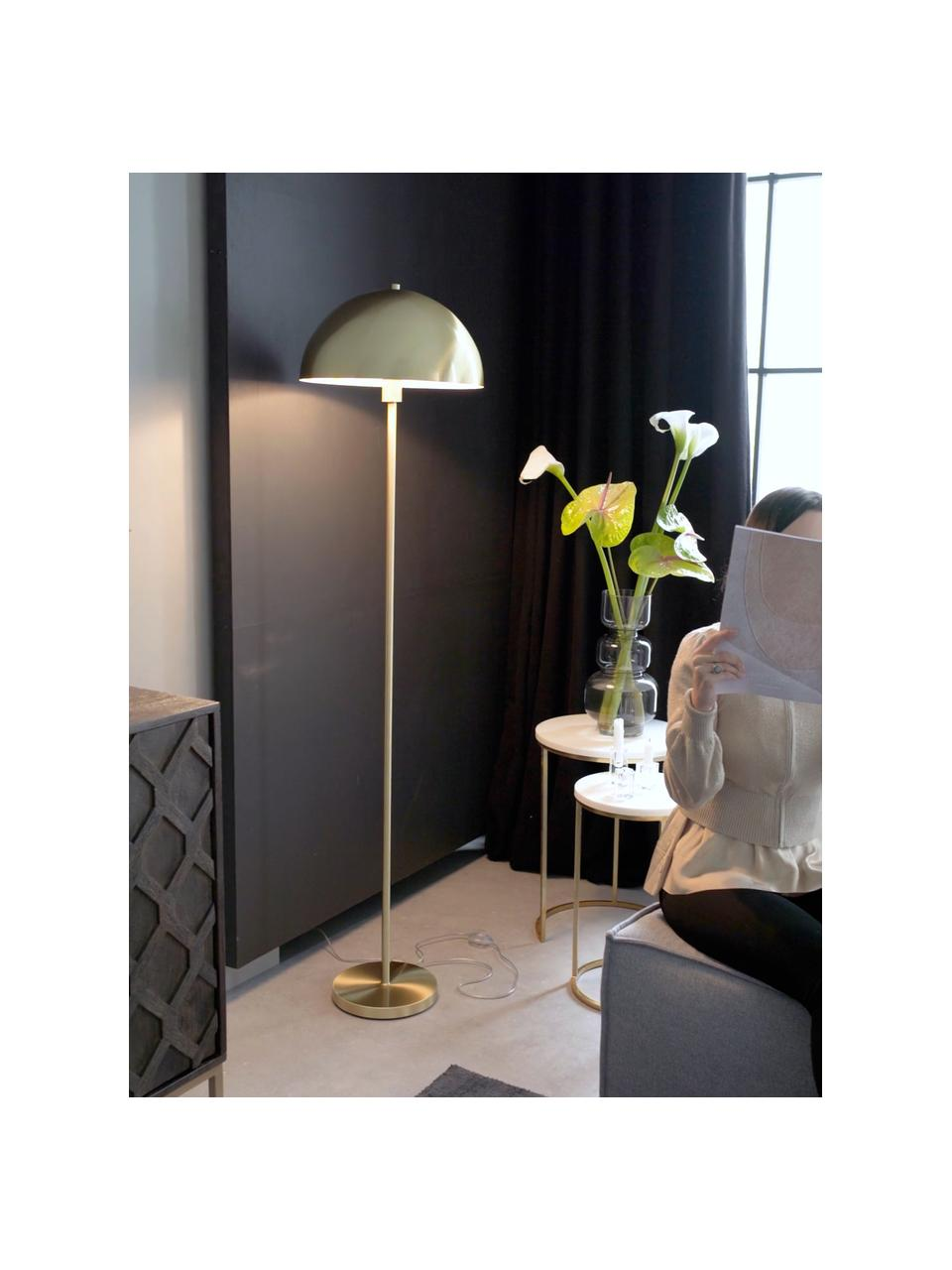 Vloerlamp Matilda, goudkleurig, Lampenkap: geborsteld metaal, Lampvoet: vermessingd metaal, Messingkleurig, Ø 40 x H 164 cm