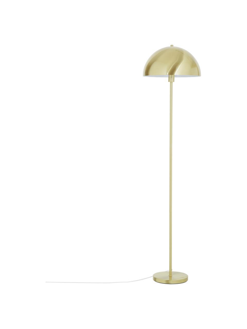 Lampada da terra dorata Matilda, Paralume: metallo spazzolato, Base della lampada: metallo ottonato, Ottonato, Ø 40 x Alt. 164 cm