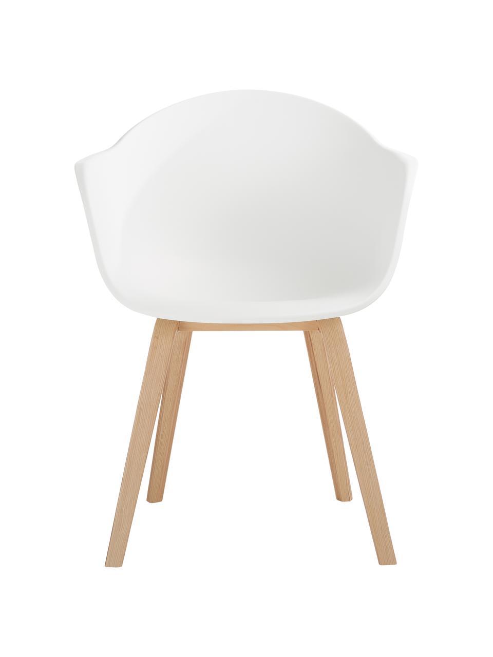 Kunststoffen armstoel Claire met houten poten, Zitvlak: kunststof, Poten: beukenhout, Zitvlak: wit. Poten: beukenhoutkleurig, 60 x 54 cm