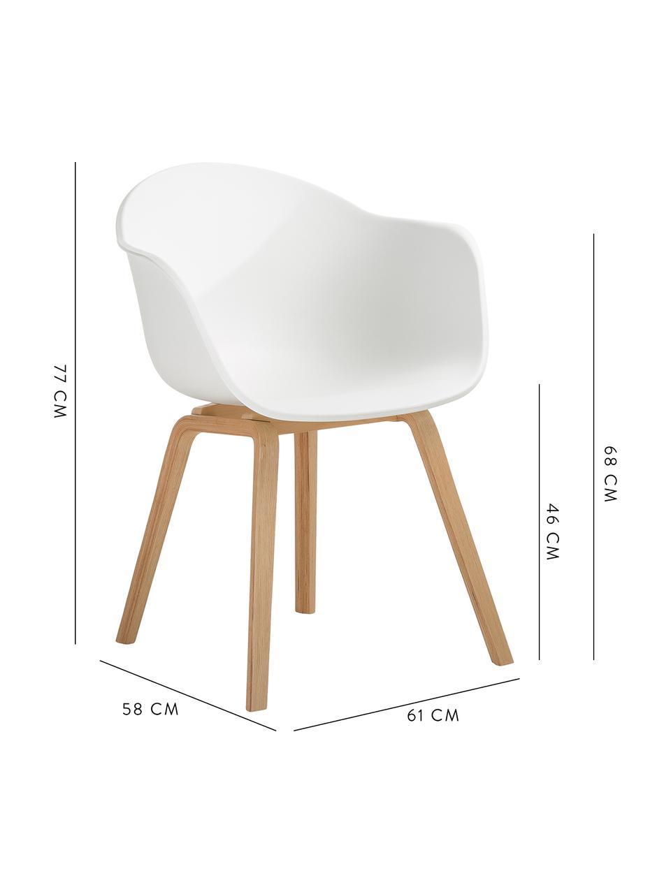 Sedia con braccioli e gambe in legno Claire, Seduta: materiale sintetico, Gambe: legno di faggio, Seduta: bianco Gambe: legno di faggio, Larg. 60 x Prof. 54 cm