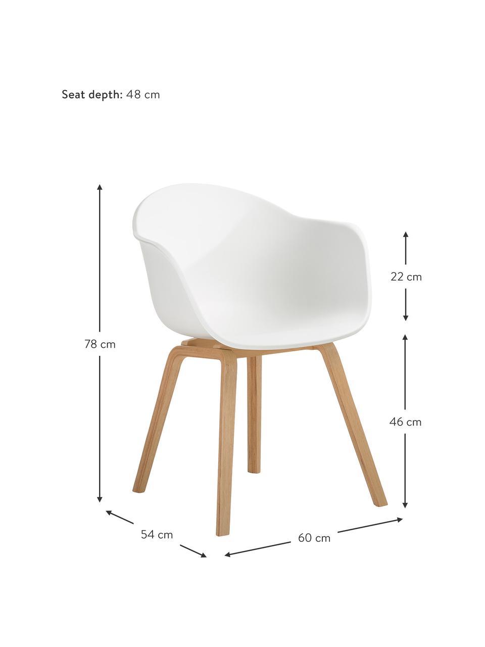 Kunststoff-Armlehnstuhl Claire mit Holzbeinen, Sitzschale: Kunststoff, Beine: Buchenholz, Weiß, B 60 x T 54 cm