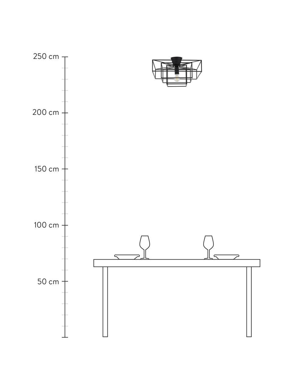 Deckenleuchte Cube in Schwarz, Baldachin: Messing, lackiert, Schwarz, 46 x 27 cm