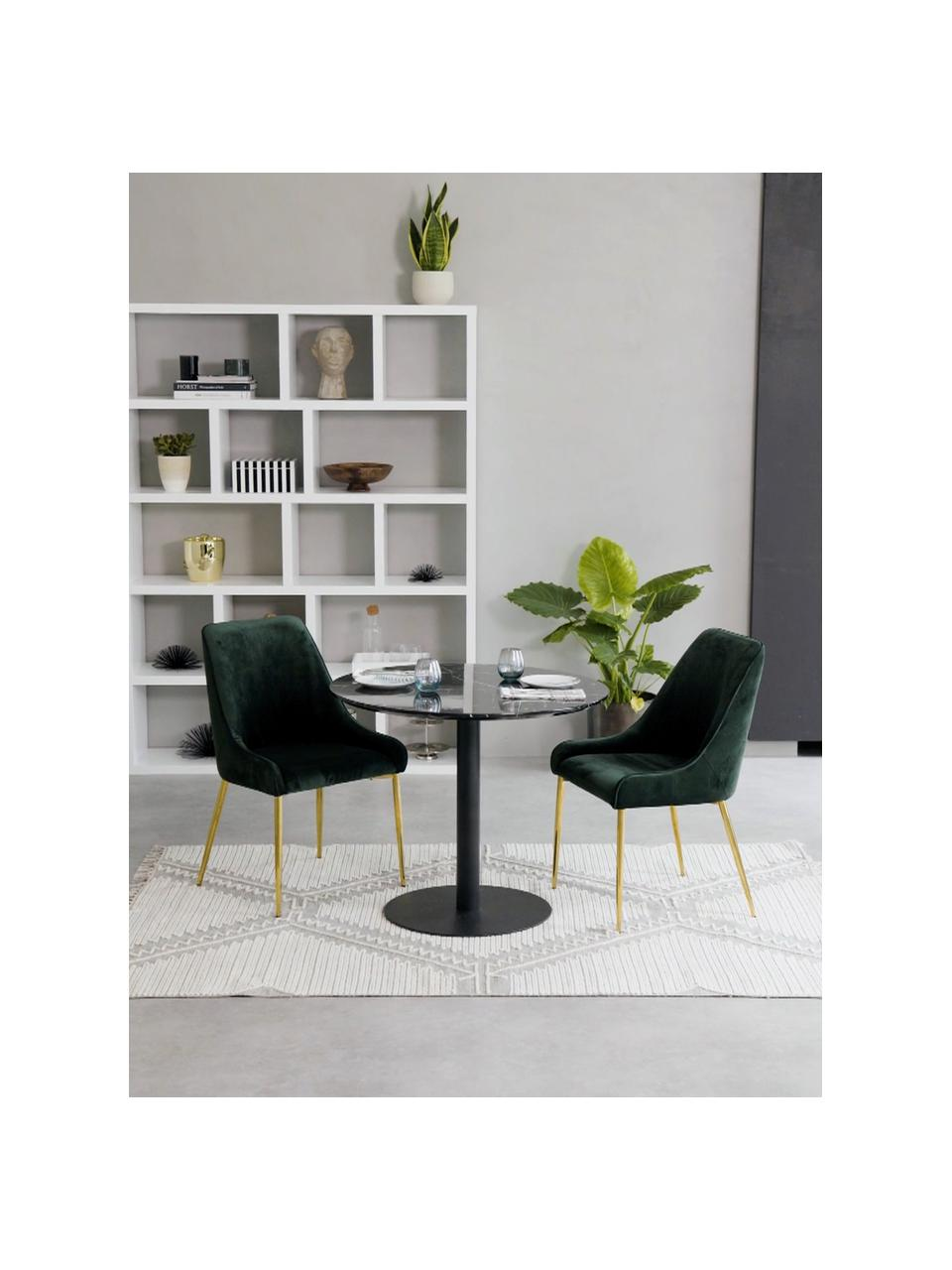 Fluwelen stoel Ava in donkergroen, Bekleding: fluweel (100% polyester), Poten: gegalvaniseerd metaal, Fluweel donkergroen, B 55 x D 60 cm