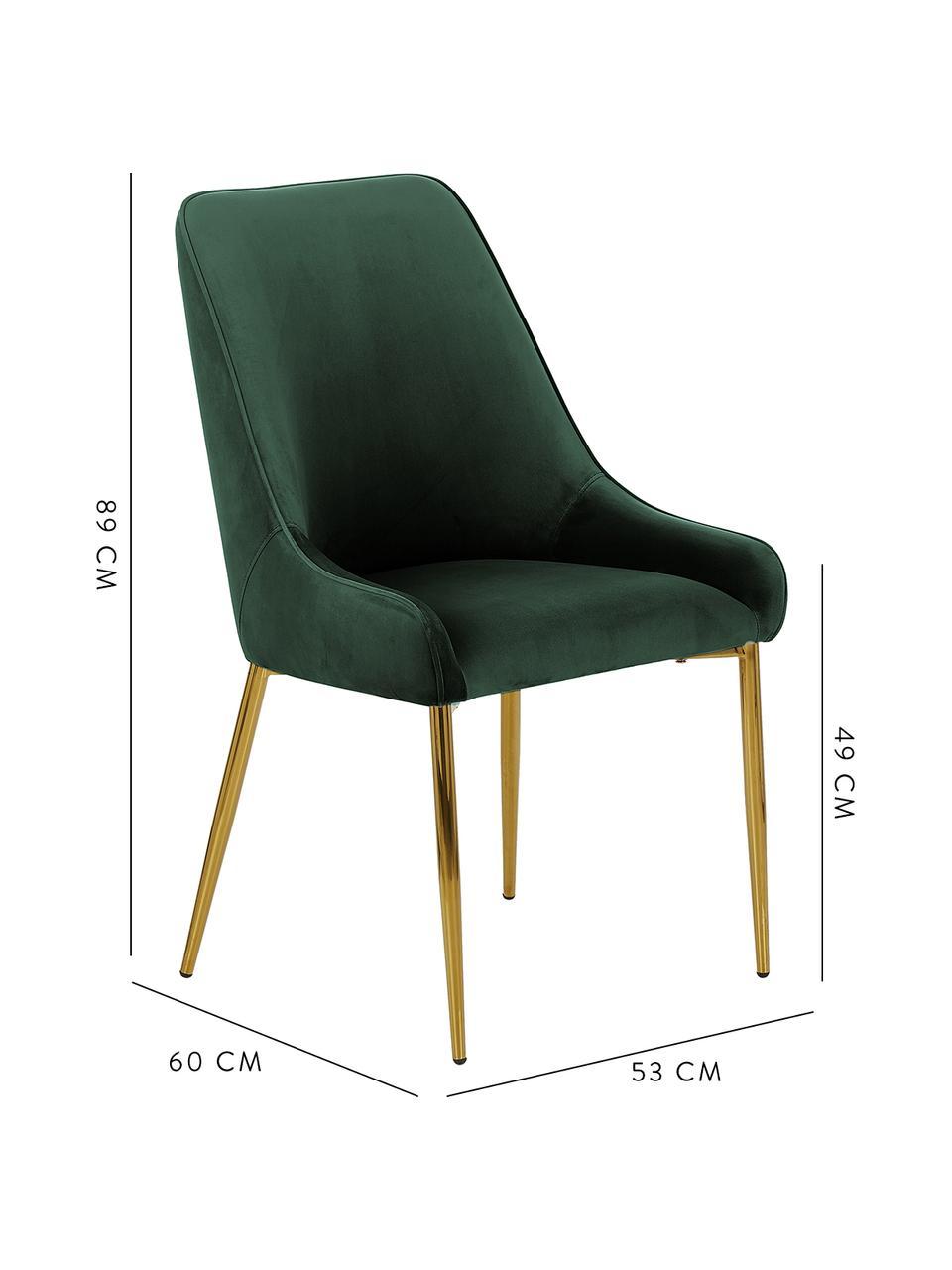 Samt-Polsterstuhl Ava mit goldfarbenen Beinen, Bezug: Samt (100% Polyester) Der, Beine: Metall, galvanisiert, Samt Dunkelgrün, B 53 x T 60 cm