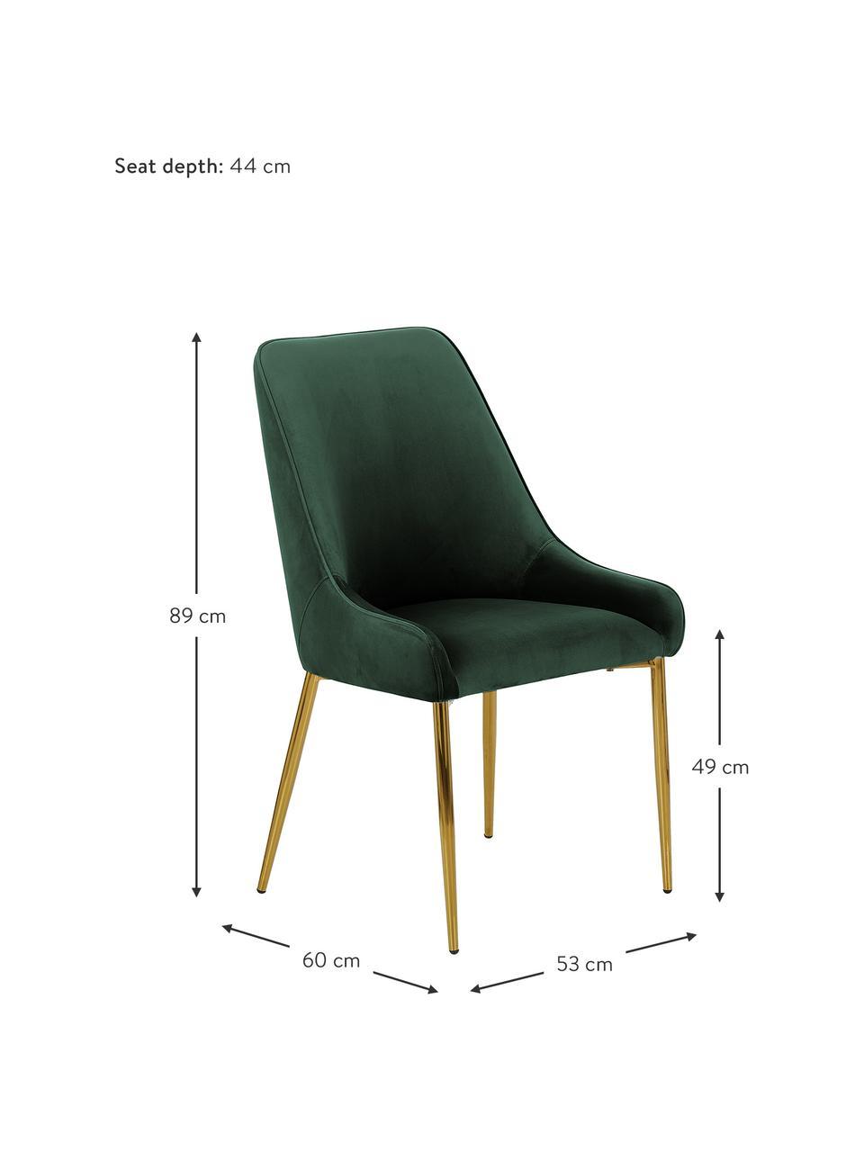 Samt-Polsterstuhl Ava in Dunkelgrün, Bezug: Samt (100% Polyester) Der, Beine: Metall, galvanisiert, Samt Dunkelgrün, B 53 x T 60 cm