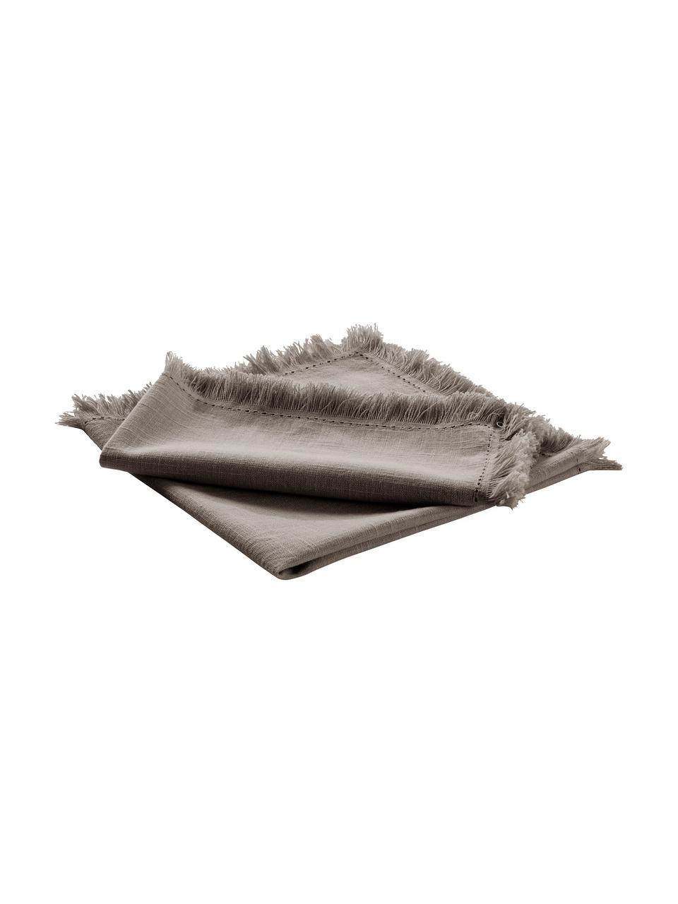 Stoff-Servietten Henley mit Fransen, 2 Stück, 100% Baumwolle, Greige, 45 x 45 cm