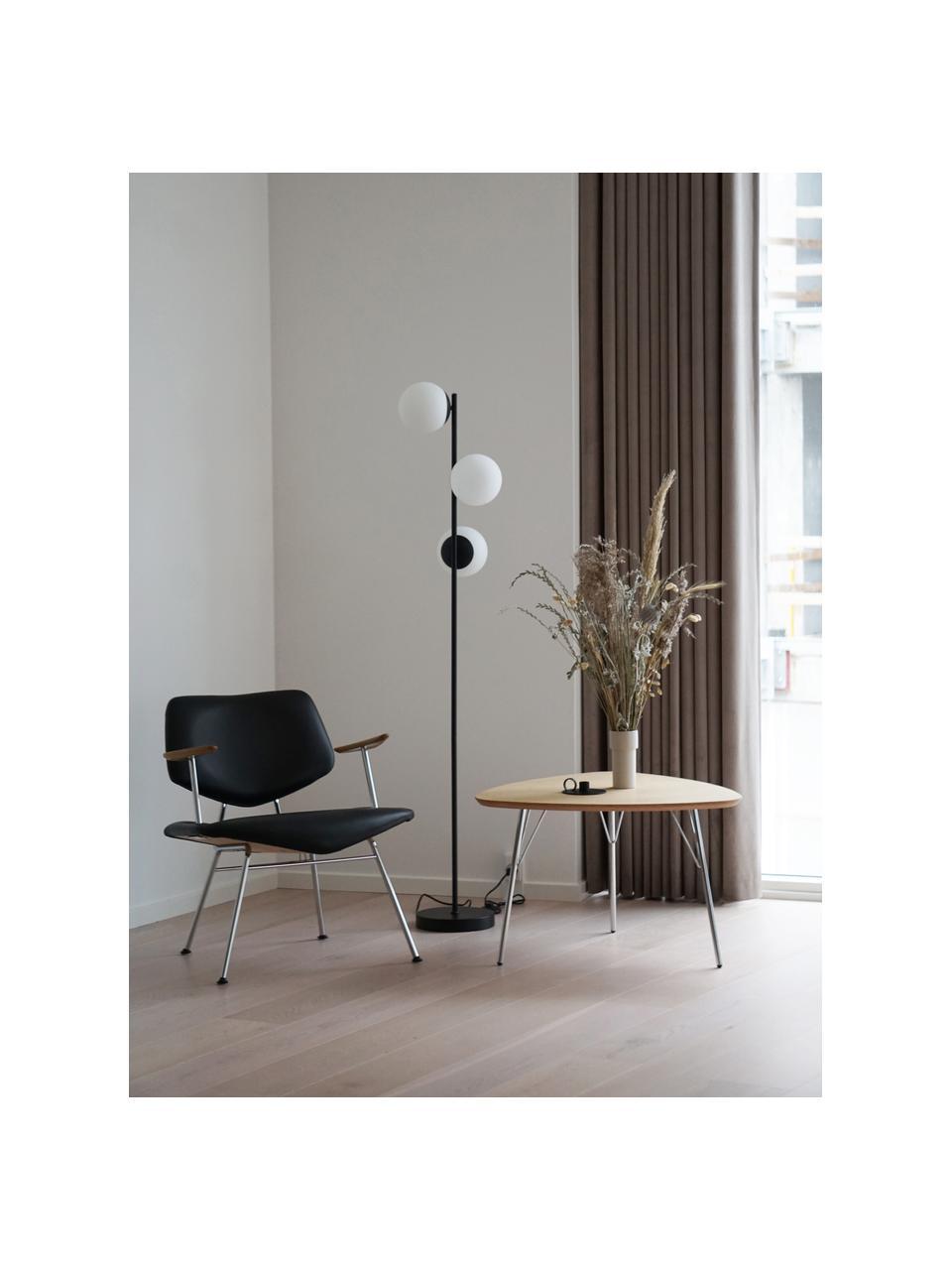 Stehlampe Lilly aus Opalglas, Lampenfuß: Metall, beschichtet, Schwarz, Weiß, Ø 30 x H 150 cm