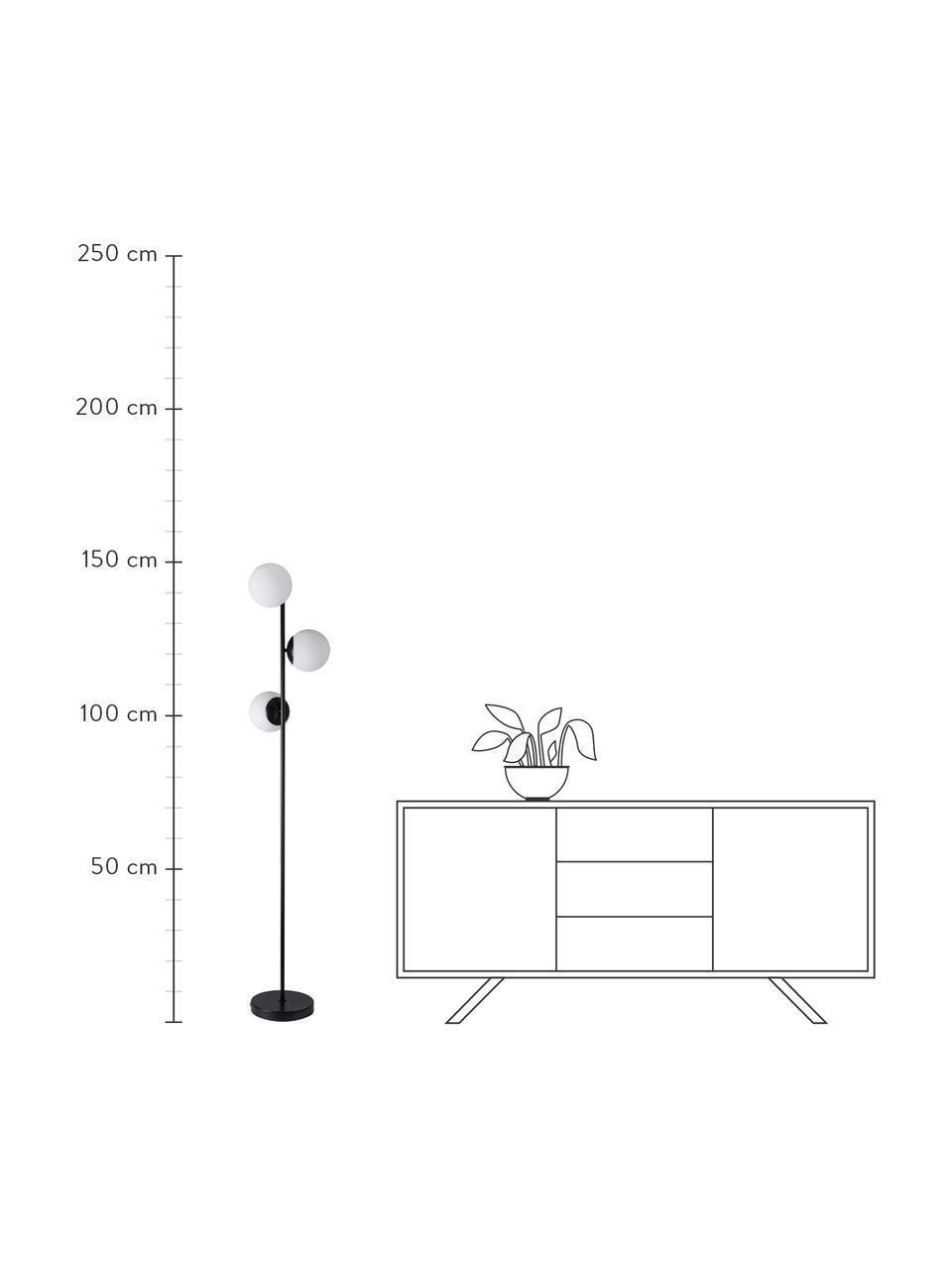 Lampada da terra in vetro opale Lilly, Paralume: vetro opale, Base della lampada: metallo rivestito, Nero, bianco, Ø 30 x Alt. 150 cm