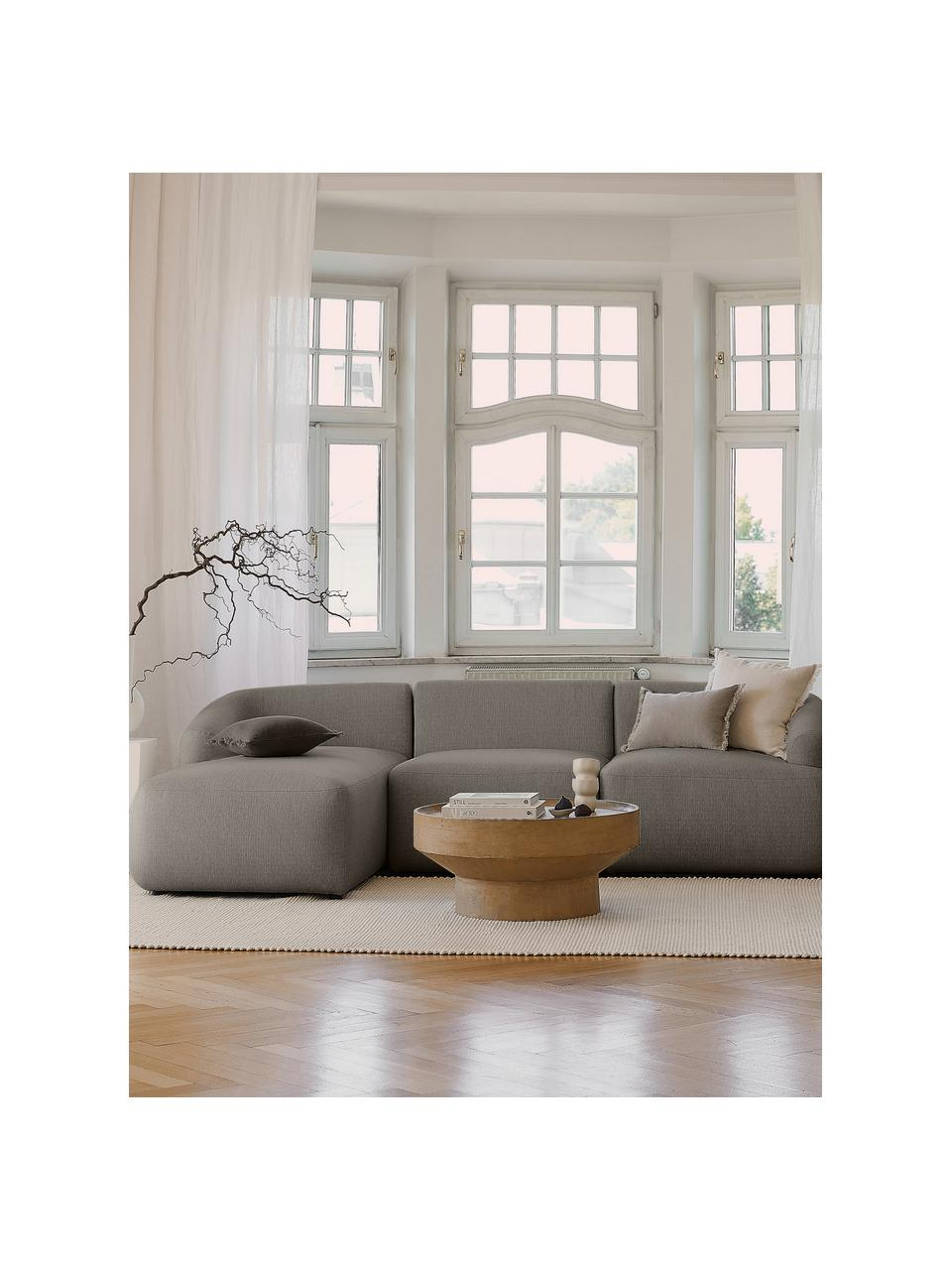 Modulaire hoekbank Sofia, grijs, Bekleding: 100% polypropyleen, Frame: massief grenenhout, spaan, Poten: kunststof, Grijs, B 278 x D 174 cm