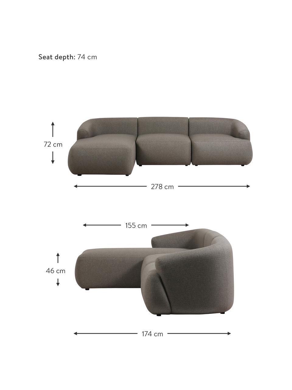 Canapé d'angle modulable gris Sofia, Gris