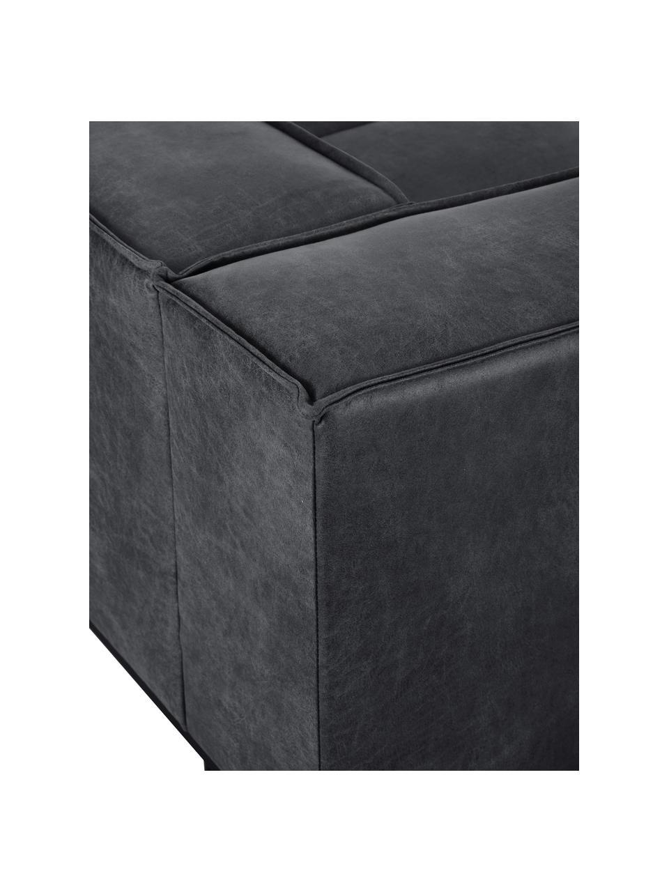 Sofa skórzana z metalowymi nogami Abigail (2-osobowa), Tapicerka: 70% skóra, 30% poliester, Nogi: metal lakierowany, Ciemny szary, S 190 x G 95 cm