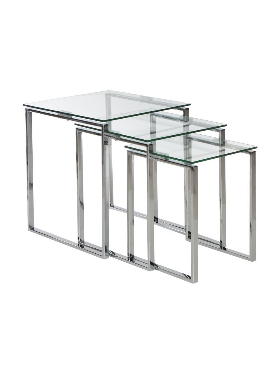 Beistelltisch 3-Set Katrine mit Glasplatte, Gestell: Stahl, verchromt, Tischplatte: Sicherheitsglas, Chrom, Transparent, Sondergrößen