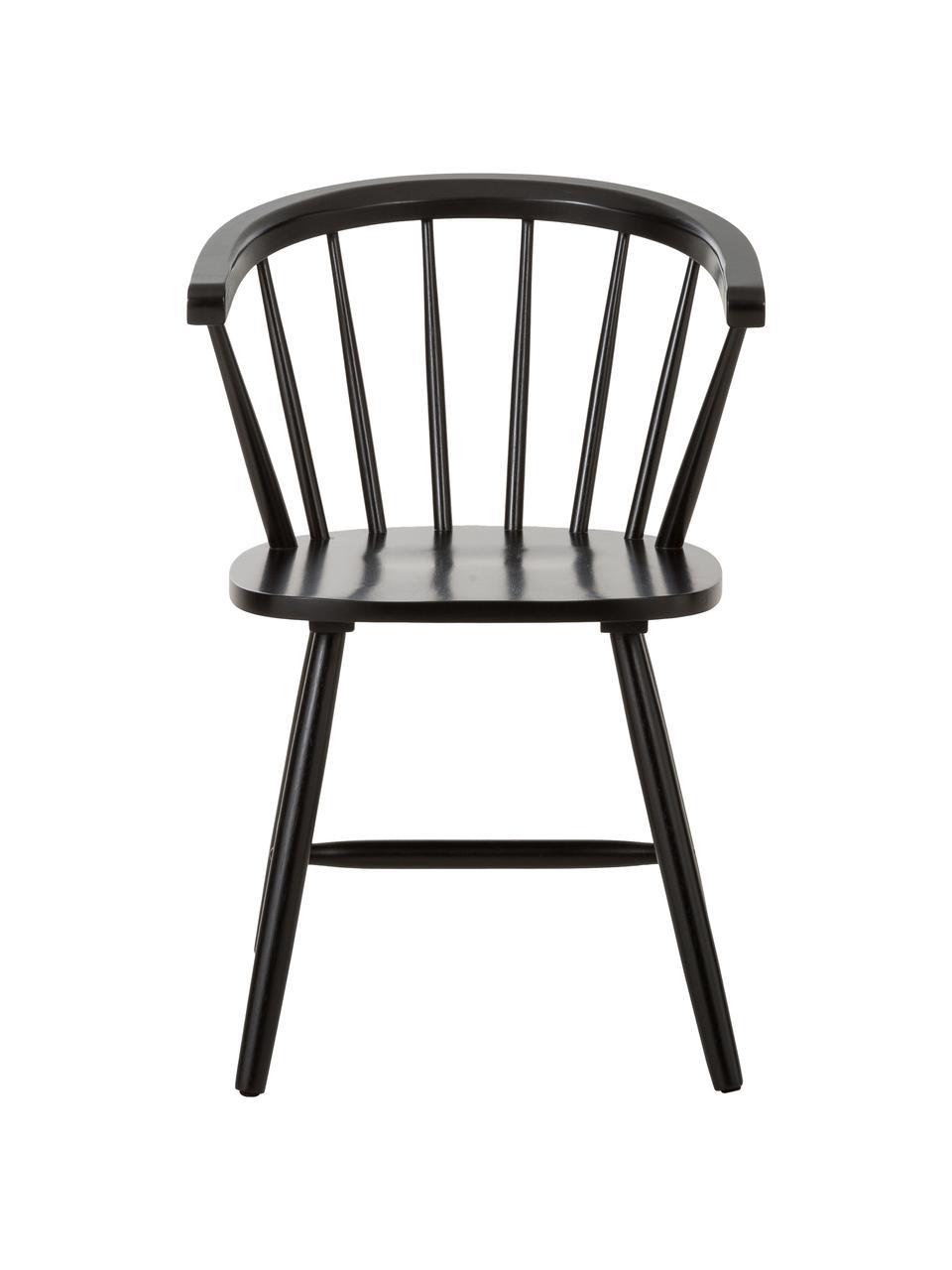 Krzesło z podłokietnikami z drewna Megan, 2 szt., Drewno kauczukowe, lakierowane, Czarny, S 53 x G 52 cm