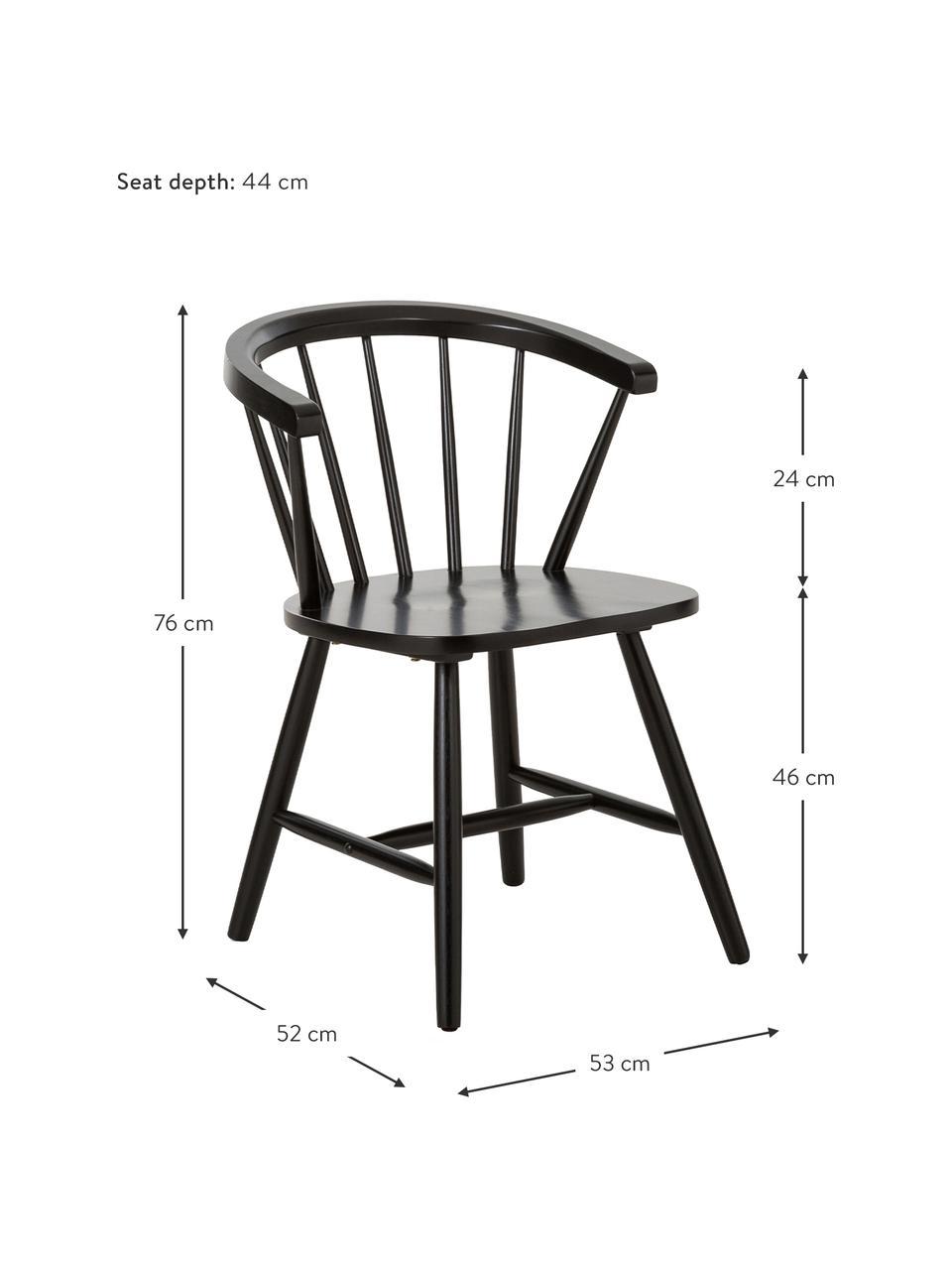 Sedia Windsor in legno Megan 2 pz, Legno di albero della gomma verniciato, Nero, Larg. 53 x Prof. 52 cm