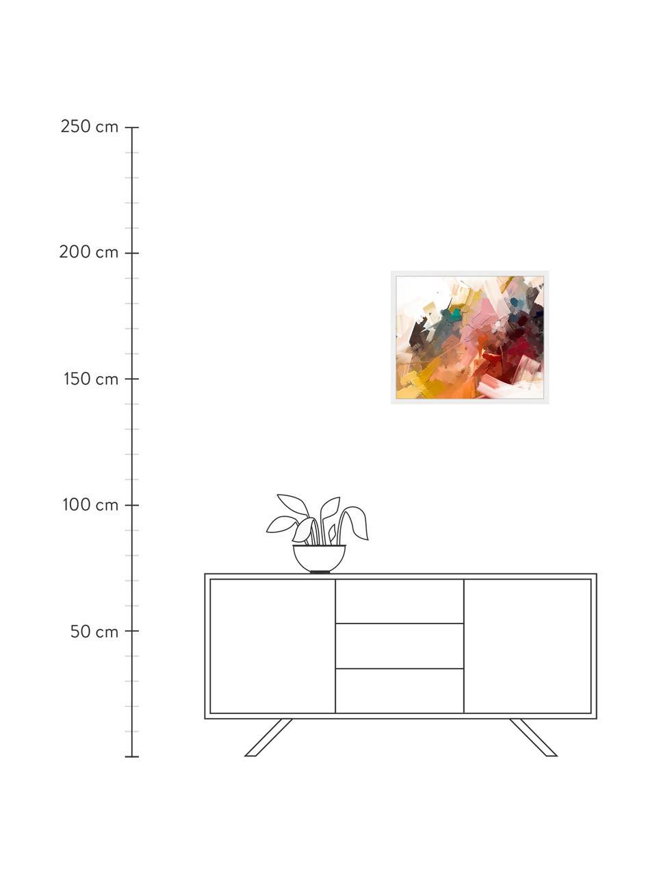 Gerahmter Digitaldruck Abstract Colorful Oil Painting, Bild: Digitaldruck auf Papier, , Rahmen: Holz, lackiert, Front: Plexiglas, Mehrfarbig, 63 x 53 cm