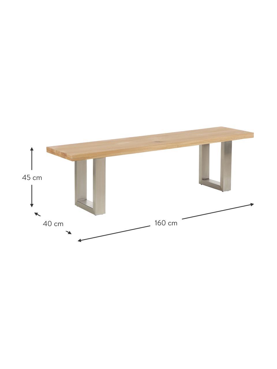 Ławka z drewna dębowego Oliver, Nogi: stal lakierowana matowo, Dzikie drewno dębowe, stal szlachetna, S 180 x W 45 cm