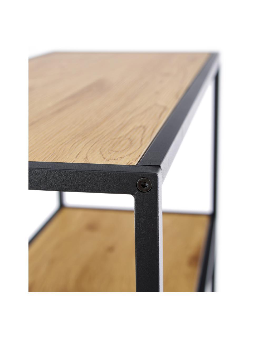 Regał z drewna i metalu Seaford, Stelaż: metal lakierowany proszko, Czarny, drewno dzikiego dębu, S 77 x W 150 cm