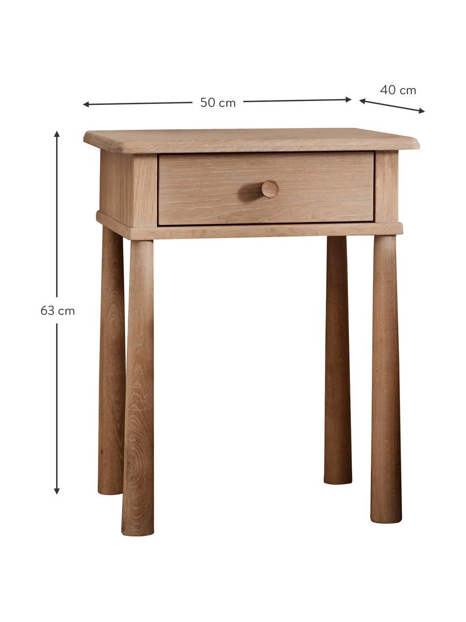 Table de chevet en chêne Wycombe, Bois de chêne