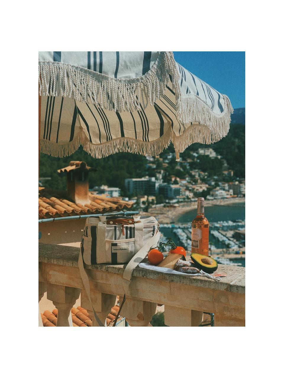 Gestreifter Sonnenschirm Retro mit Fransen, abknickbar, Gestell: Holz, laminiert, Fransen: Baumwolle, Schwarz, Gebrochenes Weiß, Ø 180 x H 230 cm