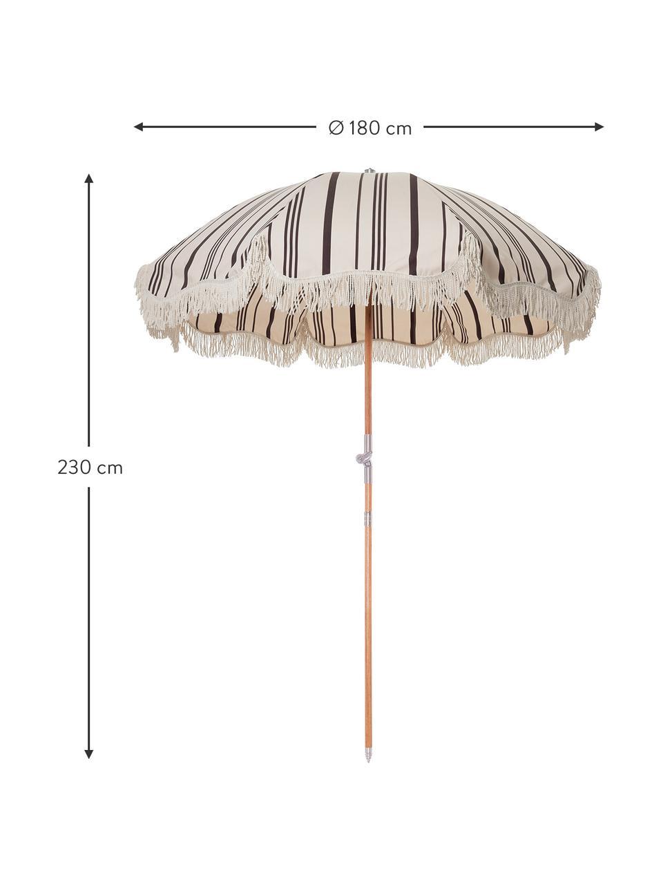 Gestreepte parasol Retro met franjes, knikbaar, Frame: gelamineerd hout, Franjes: katoen, Zwart, gebroken wit, Ø 180 x H 230 cm