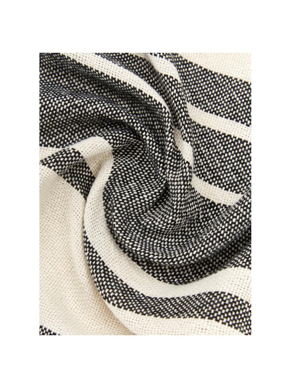 Gestreiftes Plaid Lines aus recyceltem Polyester, 100% Recycelter Polyester, Schwarz, Weiß, 130 x 170 cm