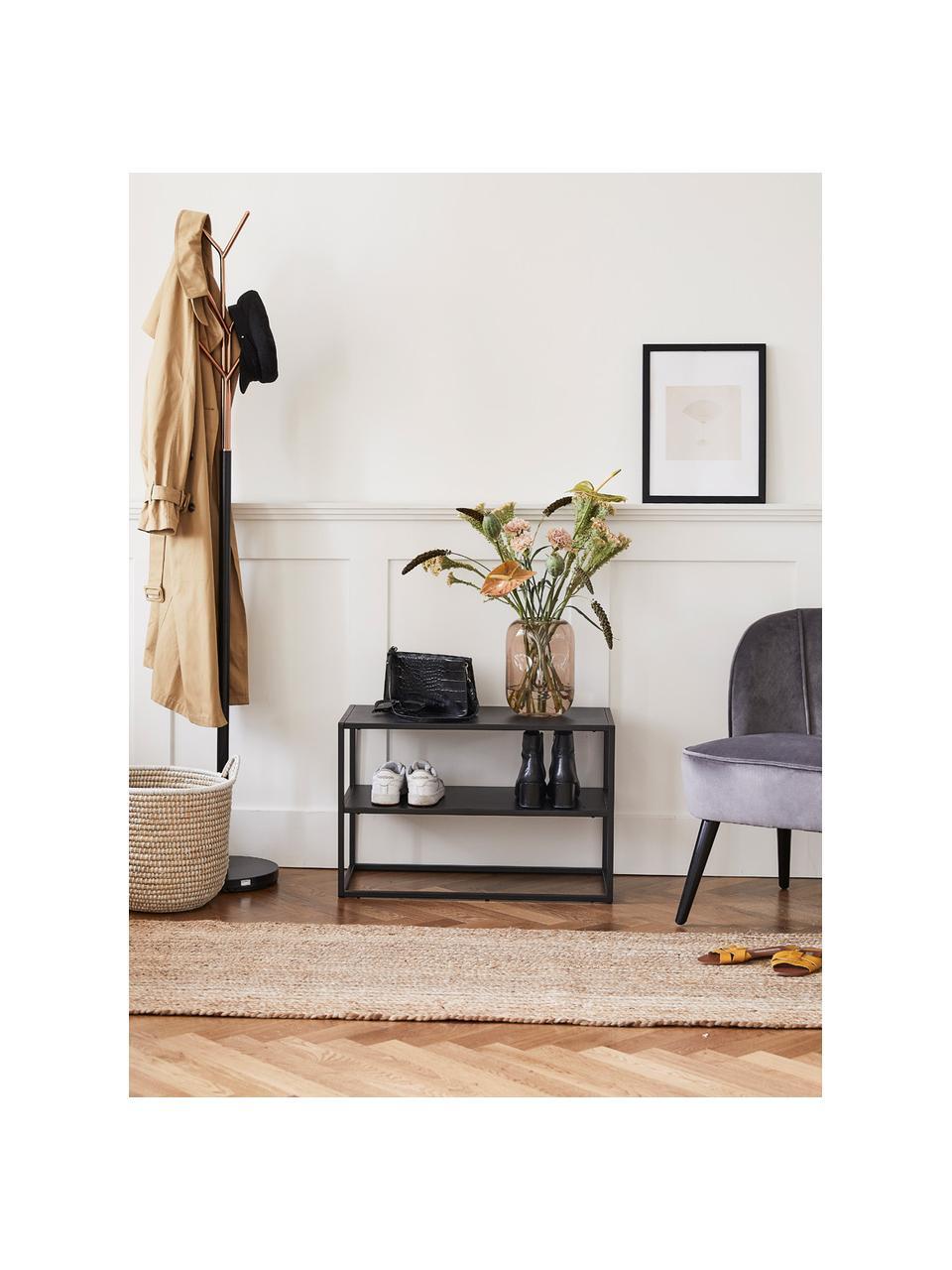 Półka na buty z metalu Newton, Metal malowany proszkowo, Czarny, S 70 x W 45 cm