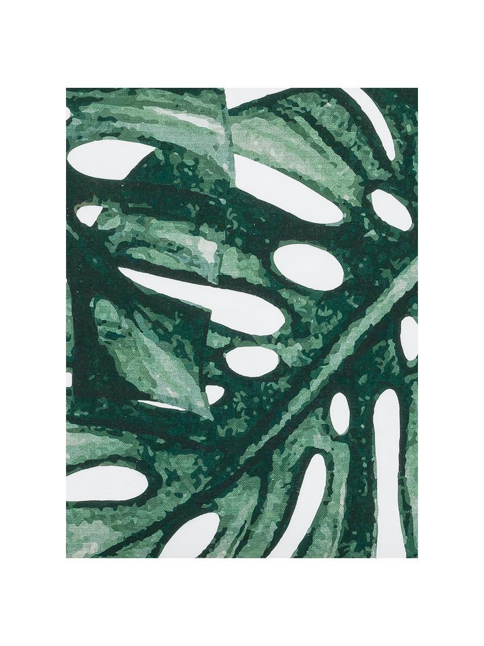 Kissenhülle Tropics mit Monstera Print in Grün/Weiß, 100% Baumwolle, Grün, Weiß, 50 x 50 cm