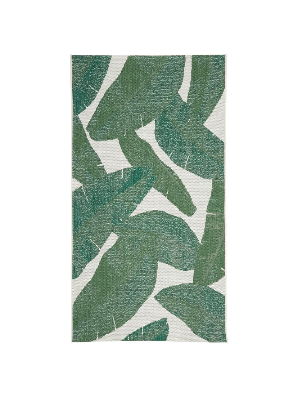 Tappeto da interno-esterno con motivo foglie Jungle, 86% polipropilene, 14% poliestere, Bianco crema, verde, Larg. 200 x Lung. 290 cm  (taglia L)