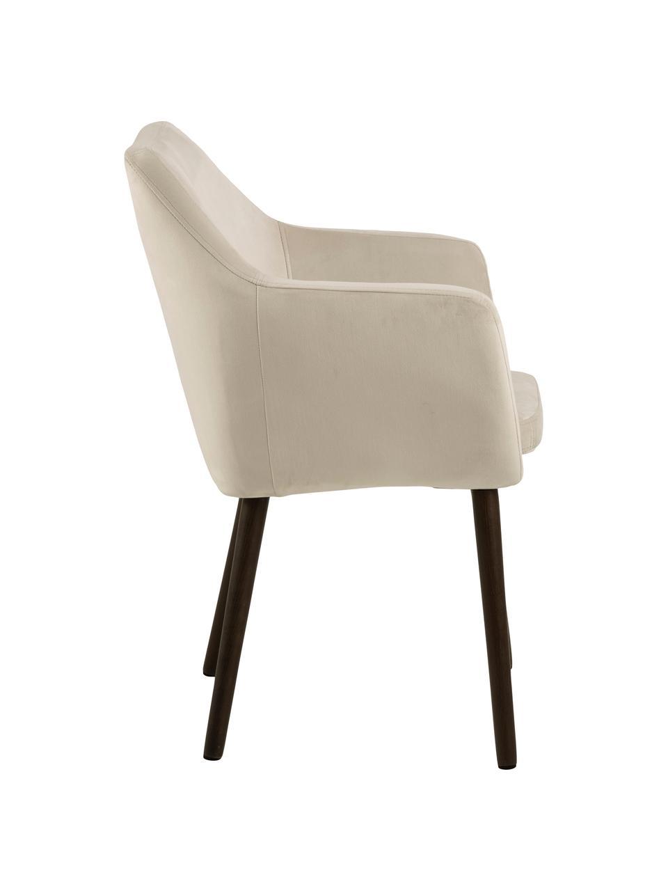 Sedia in velluto con braccioli Nora, Rivestimento: velluto di poliestere Il , Gambe: metallo rivestito, Velluto beige, gambe marrone scuro, Larg. 58 x Prof. 58 cm