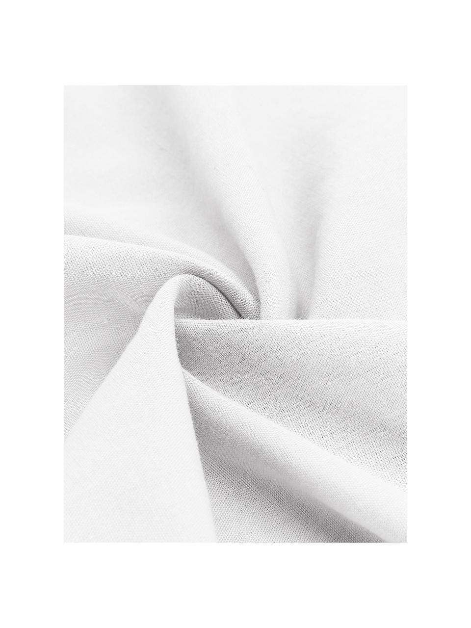 Leinen-Spannbettlaken Nature in Weiß, Halbleinen (52% Leinen, 48% Baumwolle)  Fadendichte 108 TC, Standard Qualität  Halbleinen hat von Natur aus einen kernigen Griff und einen natürlichen Knitterlook, der durch den Stonewash-Effekt verstärkt wird. Es absorbiert bis zu 35% Luftfeuchtigkeit, trocknet sehr schnell und wirkt in Sommernächten angenehm kühlend. Die hohe Reißfestigkeit macht Halbleinen scheuerfest und strapazierfähig, Weiß, 180 x 200 cm